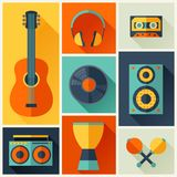 Background with musical instruments in flat design Royalty Free Stock Photo