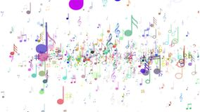 Background of musical notes. Multicolored notes stock footage