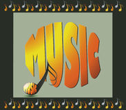 Background with musical notes and word music Stock Photo