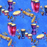 Background musical percussion instruments. Seamless pattern. Watercolor illustration on blue background. Background musical instruments. Seamless pattern stock illustration