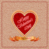 Background with By My Valentine  text on ribbon, vintage linen backdrop. Vintage Happy Valentines Day background with By My Valentine  text on ribbon, vintage Royalty Free Stock Images