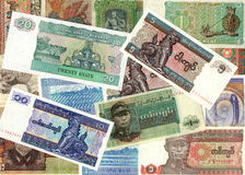 Background of Myanmar kyat money bills Royalty Free Stock Photos