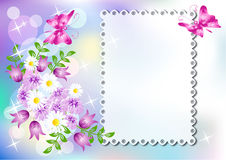 Background with napkin and flowers. And a place for text or photo Royalty Free Stock Images