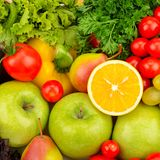 Background of natural fresh fruit and vegetables. stock photo