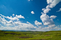 Background natural landscape with green and sky. Background Green field with blue sky Stock Photos