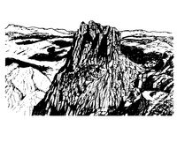 Background natural park of Sierra de Eshtrella, sketch  illustration Royalty Free Stock Photo