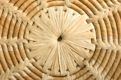 Background natural pattern. Close up of a hand woven circular weave pattern background. Natural material of bamboo, straw and dried banana leaf Stock Photo