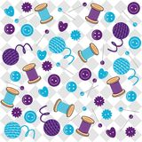 Background with needlework objects. And squares Royalty Free Stock Images