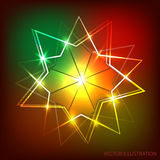 Background with neon banner. Vector illustration. Background with neon effects from triangles, flashes and lights. Illustration for the holiday cards, party Stock Images