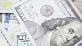 Background from new 100 dollars banknotes stock footage