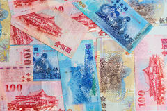 Background of New Taiwan Dollar 1000, 500 and 100 Royalty Free Stock Images