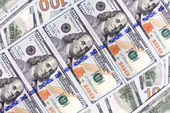 Background of the new U.S. hundred-dollar bills put into circula Stock Image