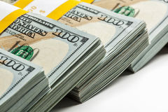 Background of new 100 US dollars banknotes bills Stock Photo