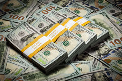 Background of new 100 US dollars banknotes bills Stock Images