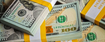 Background of new US dollars banknotes bills Royalty Free Stock Photography
