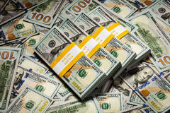 Background of new 100 US dollars 2013 banknotes Stock Photography