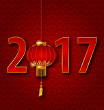 Background for 2017 New Year with Chinese Lantern. Illustration Background for 2017 New Year with Chinese Lantern. Seigaiha Texture - Vector Stock Photos