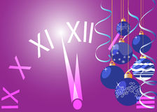 Background for new year and Christmas. New Year background with clock and Christmas toys vector illustration