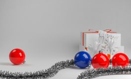 Background new-year composition with glossy balls. Abstract new year composition with red and blue glossy balls. New year 2018. Gift box stock illustration