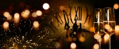 New year congratulations with champagne. Background for new year congratulations with champagne and firework stock photo