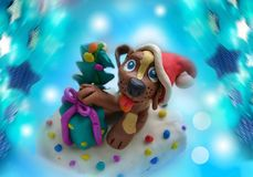 Background for the new year dog plasticine stock images