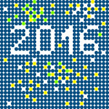 2016 background. New Year 2016 greetings card, pixel illustration of a scoreboard composition with digital text made of dots Stock Image