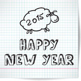 Background on New Year's theme with Lamb in 2015. In the style of the sketch Stock Photos