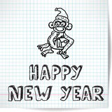 Background for a New year theme with monkey 2016 on a checkered Stock Image