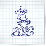 Background for a New year theme with monkey 2016 on a checkered. Paper stock illustration