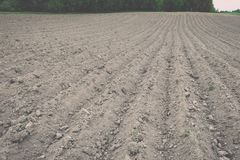 Background of newly plowed field ready for new crops - vintage e Royalty Free Stock Images