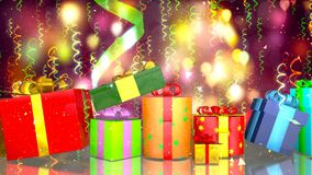 Background with nice gift boxes 3D rendering royalty free illustration