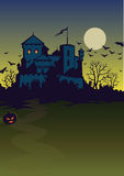 Background of nidht of Halloween. Background of night of a Halloween with the lock, a pumpkin and bats Stock Image