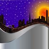 Background with night city illuminated by lights Royalty Free Stock Photos