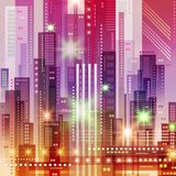 Background with Night City. Vector futuristic illustration Royalty Free Stock Photo