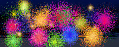 Background of a night with multicolored fireworks. Digital illustration of background of a night with multicolored fireworks Royalty Free Stock Images