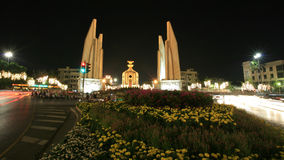 Background: night scene of democracy monument Royalty Free Stock Image