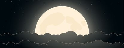 Background of night sky with moon, stars and clouds stock illustration