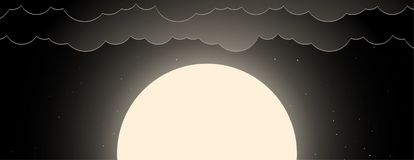 Background of night sky with moon, stars and clouds vector illustration