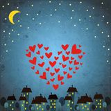 Background with night sky ,star and heart Stock Photography