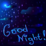 Background of the night sky with stars and clouds. stock illustration