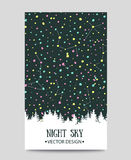 Background with night sky. stars and forest. Stock Photography