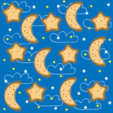 Background of night with stars and  month. Vector Royalty Free Stock Image