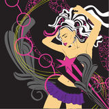Background nightclub with a girl. Background nightlife and dancing girl royalty free illustration