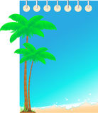 Background notepad with ocean wave and palm Royalty Free Stock Images