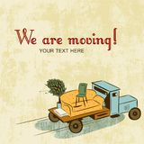 Background with notice about relocation vector illustration