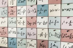 Background with numbers. Numbers texture Mathematical equations and formulas on stickers.  stock photography