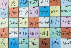 Background with numbers. Numbers texture Mathematical equations and formulas on stickers.  royalty free stock photo