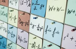 Background with numbers. Numbers texture Mathematical equations and formulas on stickers.  royalty free stock photography