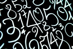 Background of numbers. from zero to nine. Numbers texture. Currency symbols. Numerology. Mathematical equations and formulas.  royalty free stock photo