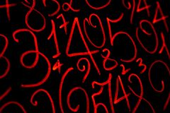 Background of numbers. from zero to nine. Numbers texture. Currency symbols. Numerology. Mathematical equations and formulas.  royalty free stock photos